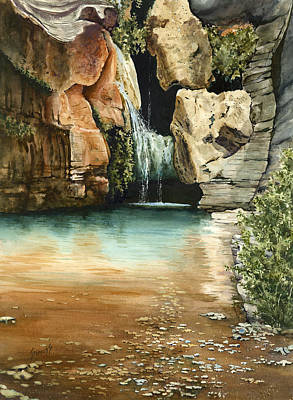 Canyon Painting - Green Falls II by Sam Sidders