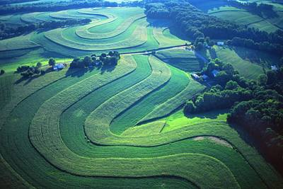 Green Farm Contours Aerial Art Print by Blair Seitz