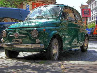 Photograph - Green Fiat 500 In Rome by Vlad Baciu