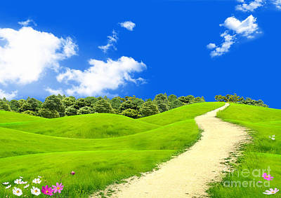 Green Field Art Print by Boon Mee