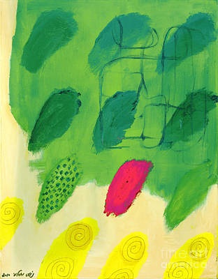 Therapy Room Painting - Green Finger Prints by Noa Yerushalmi