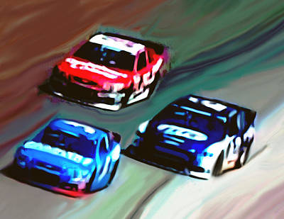 Mixed Media - Green Flag Racing by Dennis Buckman