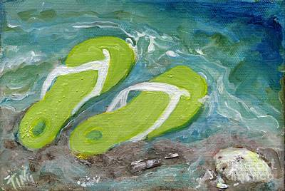 Art Print featuring the painting Green Fliip Flops On Tybee by Doris Blessington