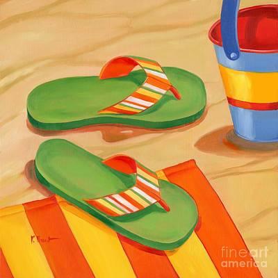 Flip-flops Painting - Green Flip Flops by Paul Brent