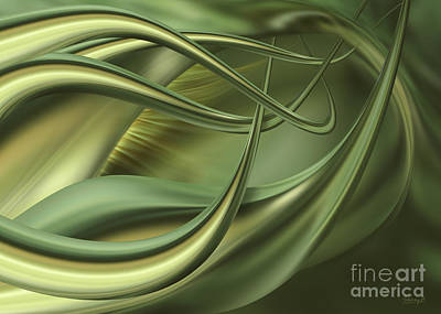 Digital Art - Green Flow by Johnny Hildingsson