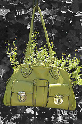 Art Print featuring the photograph Green Flower Bag by Sebastian Mathews Szewczyk
