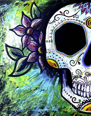 Green Flower Skull Art Print by Lovejoy Creations