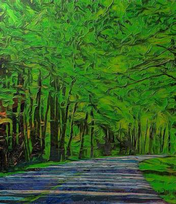 Green Forest Drive On Metal Art Print by Dan Sproul