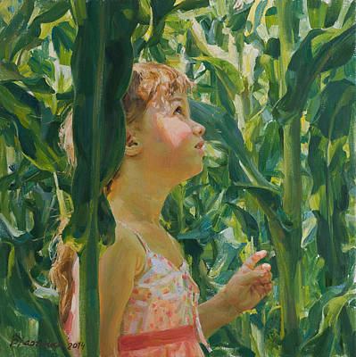 Green Forest Of Corn Art Print by Victoria Kharchenko
