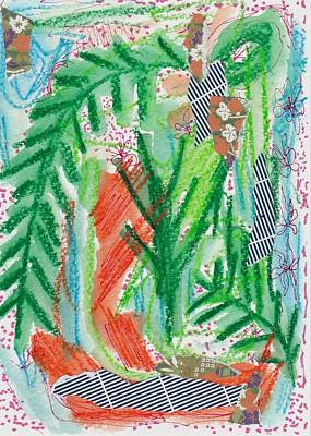 Colored Pencil Abstract Mixed Media - Green Forest by Rosalina Bojadschijew