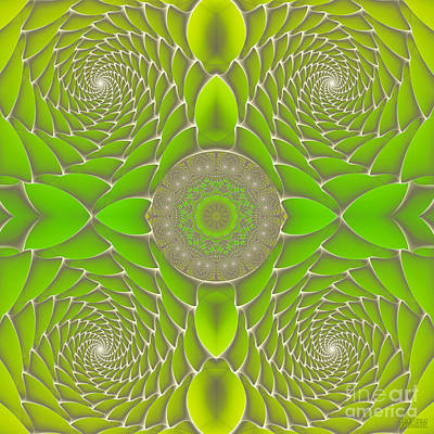 Green Fractal Jewel Art Print