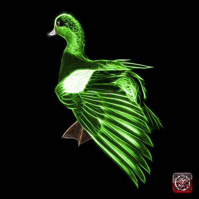 Mixed Media - Green Fractal Wigeon 7702 - Bb by James Ahn