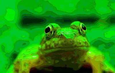 Frogs Mixed Media - Green Frog Poster by Dan Sproul