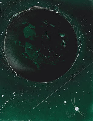 Planetoid Painting - Green Galaxies by Jason Girard