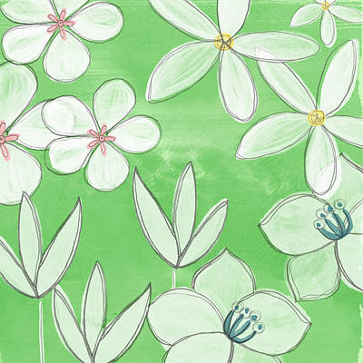 Yellow Daisy Wall Art - Painting - Green Garden by Linda Woods