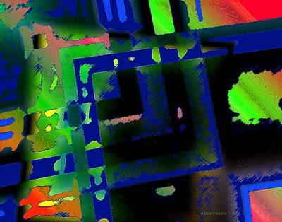 Colored Digital Art - Green Geometric Spots by Mario Perez