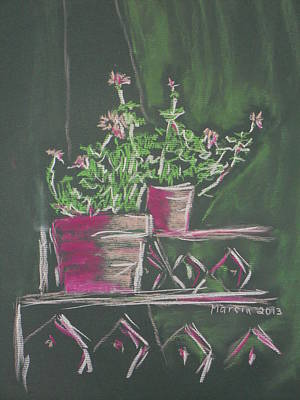 Pastel - Green Geraniums by Marcia Meade