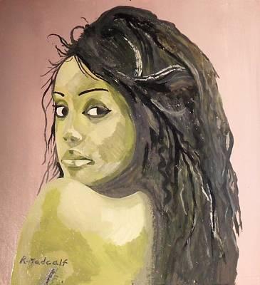 Negro Art Mixed Media - Green Girl  by Roger Medcalf