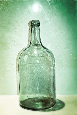 Old Jugs Photograph - Green Glass Bottle by Colleen Kammerer