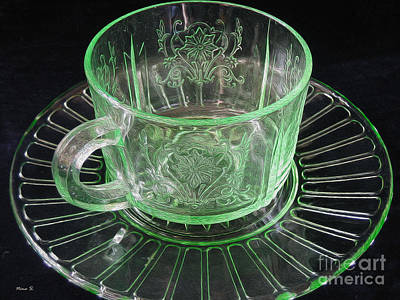 Photograph - Green Glass Cup And Saucer by Nina Silver