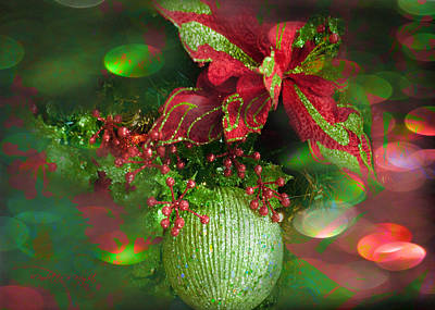 Photograph - Green Glitter With Red Bow by Paulette B Wright