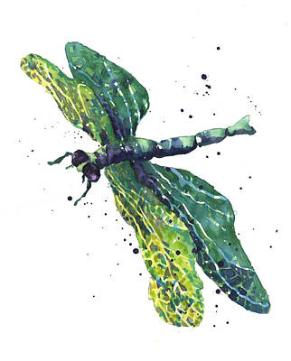 Dragonflies Painting - Green Goddess by Alison Fennell