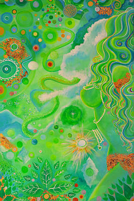 Gold Star Mother Painting - Green Goddess by Arianna Ruffinengo