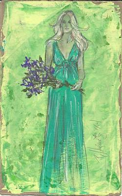 Person Drawing - Green Goddess Dressing by P J Lewis