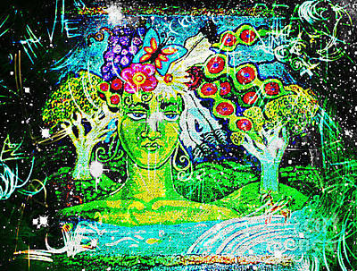 Visionary Art Painting - Green Goddess Ultra Brite by Genevieve Esson