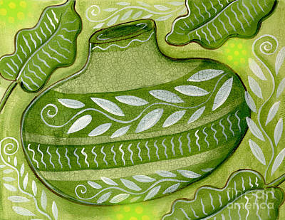 Vase Mixed Media - Green Gourd by Elaine Jackson