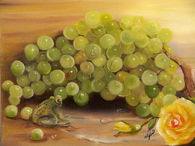Painting - Green Grapes Green Frog by Joni McPherson