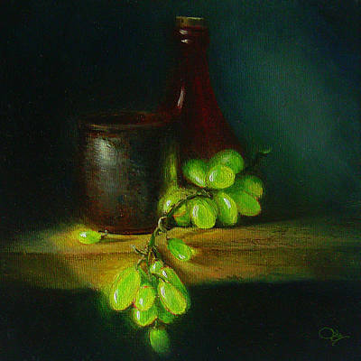 Canned Fruit Painting - Green Grapes by Jk