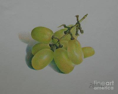 Green Grapes Art Print by Pamela Clements