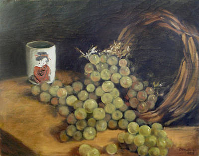 Painting - Green Grapes With Japanese Tea Cup by Kathryn Donatelli
