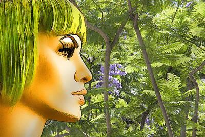 Photograph - Green Hair And Jacaranda  by Chuck Staley