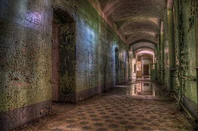 Abandoned Digital Art - Green Hallway by Nathan Wright