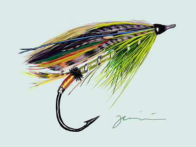 Trout Stream Drawing - Green Highlander by Jean Pacheco Ravinski