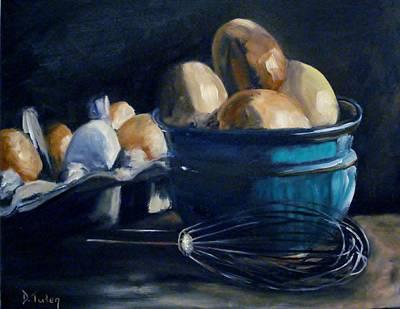 Fresh Eggs Painting - Green Hill Farms Fresh Eggs by Donna Tuten