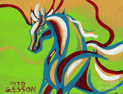 Pegasus Painting - Green Horse by Genevieve Esson