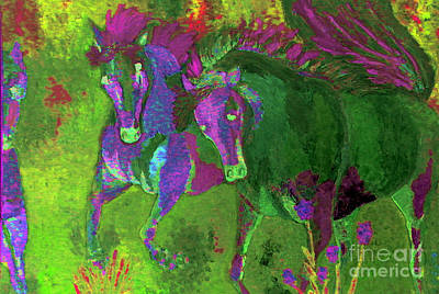 Painting - Green Horses by Vicky Tarcau