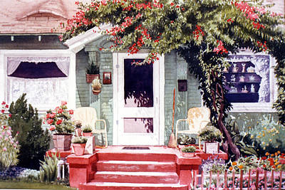 Portaits Painting - Green House Third Street Encinitas by Mary Helmreich