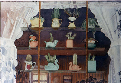 Floral Still Life Painting - Green House Window by Mary Helmreich