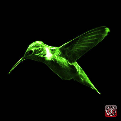 Digital Art - Green Hummingbird - 2054 F by James Ahn