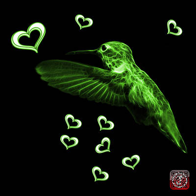 Digital Art - Green Hummingbird - 2055 F by James Ahn