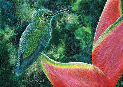 Drawing - Green Hummingbird by Sandra LaFaut