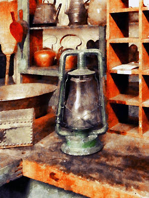 Teapot Photograph - Green Hurricane Lamp In General Store by Susan Savad