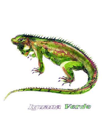Iguana Wall Art - Painting - Green Iguana by Yoshiharu Miyakawa