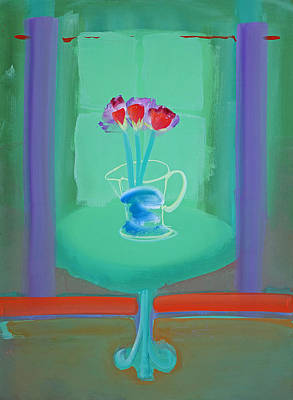 Flower Painting - Green Interior by Charles Stuart