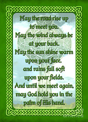 Celtic Knotwork Digital Art - Green Irish Blessing by Chris MacDonald
