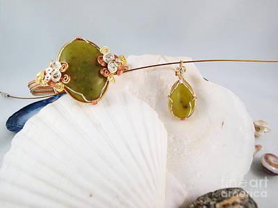Sterling Silver Bracelet Photograph - Green Jade Necklace And Bracelet Set by Vivian Martin